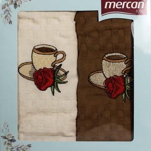 Подарочный набор кухонных полотенец 2 шт. Mercan хлопковая вафля чашка с розой 45х65