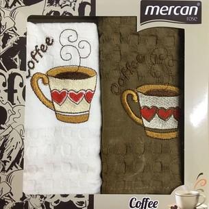 Подарочный набор кухонных полотенец 2 шт. Mercan хлопковая вафля чашка с сердцем 45х65