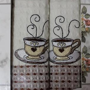 Подарочный набор кухонных полотенец 2 шт. Mercan LUX хлопковая вафля кофе 50х70