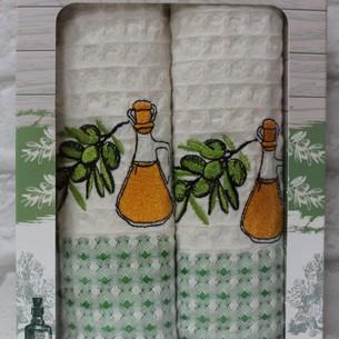 Подарочный набор кухонных полотенец 2 шт. Mercan LUX хлопковая вафля оливки 50х70