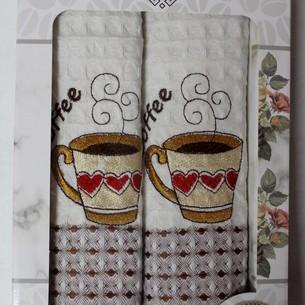 Подарочный набор кухонных полотенец 2 шт. Mercan LUX хлопковая вафля чашка с сердцем 50х70