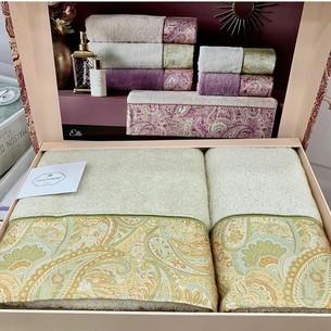 Подарочный набор полотенец для ванной 2 пр. Tivolyo Home ETTO хлопковая махра экрю