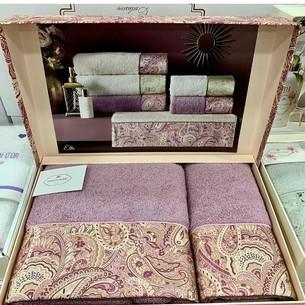 Подарочный набор полотенец для ванной 2 пр. Tivolyo Home ETTO хлопковая махра фиолетовый