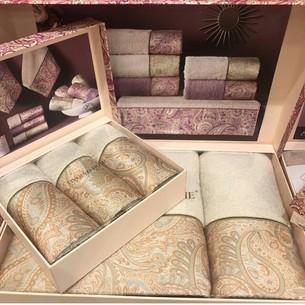 Подарочный набор полотенец для ванной 3 пр. Tivolyo Home ETTO хлопковая махра бежевый