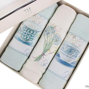 Подарочный набор кухонных полотенец Tivolyo Home VERONA хлопковая вафля зелёный