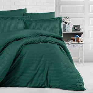Постельное белье Clasy хлопковый страйп-сатин тёмно-зелёный евро