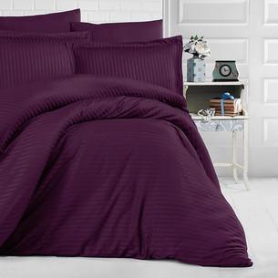 Постельное белье Clasy хлопковый страйп-сатин пурпурный евро
