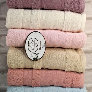 Набор полотенец для ванной 6 шт. Luzz EBRU хлопковая махра 70х140