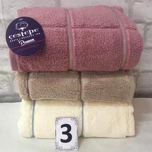 Набор полотенец для ванной 3 шт. Cestepe MICRO COTTON PREMIUM KARE микрокоттон V1 90х150