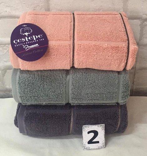 Набор полотенец для ванной 3 шт. Cestepe MICRO COTTON PREMIUM KARE микрокоттон V2 90х150, фото, фотография