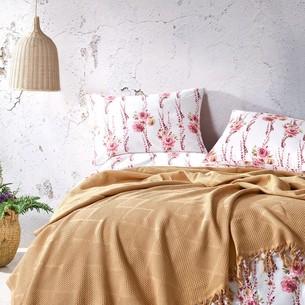 Летнее постельное белье с покрывалом-одеялом пике Saheser MONA хлопковый ранфорс горчичный евро