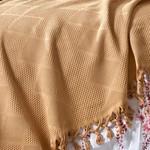 Летнее постельное белье с покрывалом-одеялом пике Saheser MONA хлопковый ранфорс горчичный евро, фото, фотография