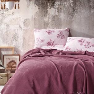 Летнее постельное белье с покрывалом-одеялом пике Saheser MONA хлопковый ранфорс бордовый евро