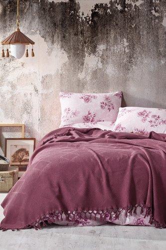 Летнее постельное белье с покрывалом-одеялом пике Saheser MONA хлопковый ранфорс бордовый евро, фото, фотография