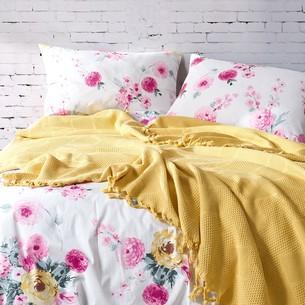 Летнее постельное белье с покрывалом-одеялом пике Saheser MONA хлопковый ранфорс жёлтый евро