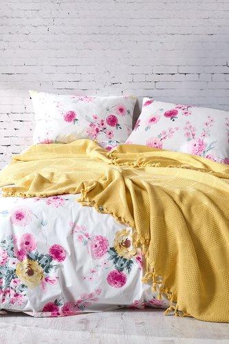 Летнее постельное белье с покрывалом-одеялом пике Saheser MONA хлопковый ранфорс жёлтый евро, фото, фотография