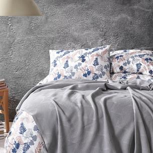 Летнее постельное белье с покрывалом-одеялом пике Saheser MONA хлопковый ранфорс серый евро