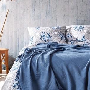 Летнее постельное белье с покрывалом-одеялом пике Saheser MONA хлопковый ранфорс тёмно-голубой евро