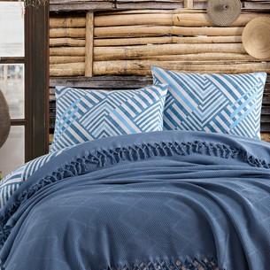 Летнее постельное белье с покрывалом-одеялом пике Saheser MONA хлопковый ранфорс синий евро