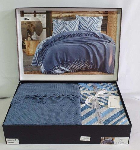 Летнее постельное белье с покрывалом-одеялом пике Saheser MONA хлопковый ранфорс синий евро, фото, фотография
