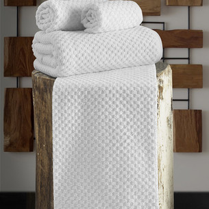Полотенце для ванной Karna DAMA хлопковая махра белый 90х150