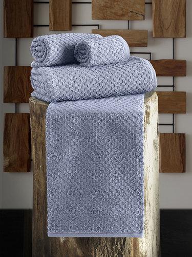 Полотенце для ванной Karna DAMA хлопковая махра голубой 90х150, фото, фотография