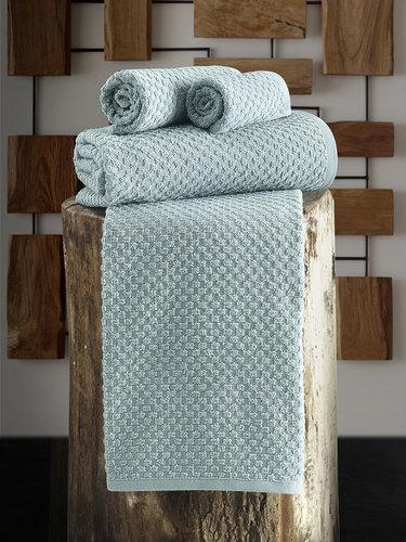 Полотенце для ванной Karna DAMA хлопковая махра зелёный 90х150, фото, фотография