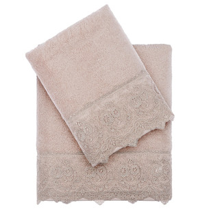 Полотенце для ванной Tivolyo Home ELEGANT хлопковая махра бежевый 50х100
