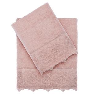 Полотенце для ванной Tivolyo Home ELEGANT хлопковая махра пудра 50х100