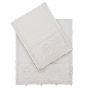 Подарочный набор полотенец для ванной 2 пр. Tivolyo Home ELEGANT хлопковая махра кремовый