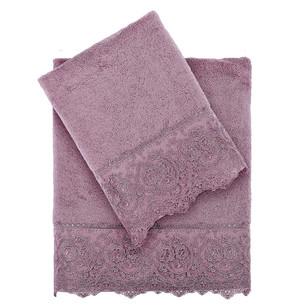 Подарочный набор полотенец для ванной 2 пр. Tivolyo Home ELEGANT хлопковая махра фиолетовый