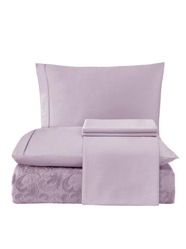 Постельное белье с махровой простынью-покрывалом Tivolyo Home BAROC хлопок лиловый евро, фото, фотография