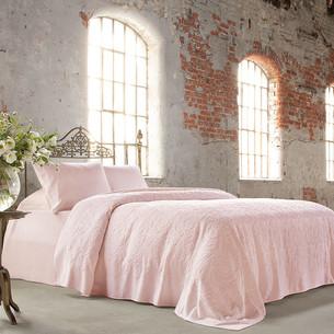 Постельное белье с махровой простынью-покрывалом Tivolyo Home BAROC хлопок розовый евро