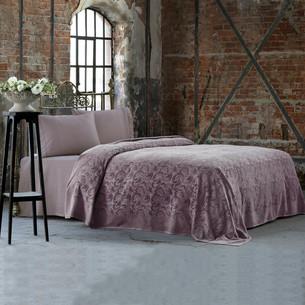 Постельное белье с махровой простынью-покрывалом Tivolyo Home BAROC хлопок фиолетовый евро