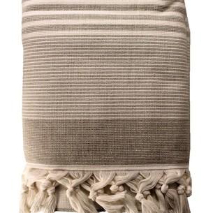 Пляжное полотенце, парео, палантин (пештемаль) Pupilla ATINA хлопок коричневый 90х170