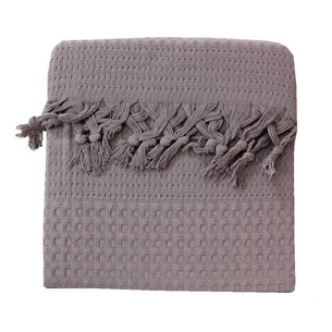 Вафельная простыня-покрывало для укрывания (пике) Saheser хлопок светло-серый 180х240