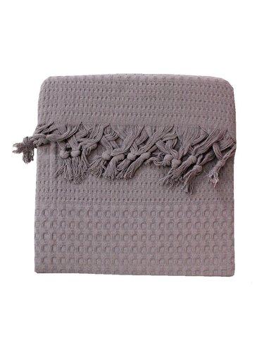 Вафельная простыня-покрывало для укрывания (пике) Saheser хлопок светло-серый 180х240, фото, фотография
