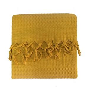 Вафельная простыня-покрывало для укрывания (пике) Saheser хлопок горчичный 220х240