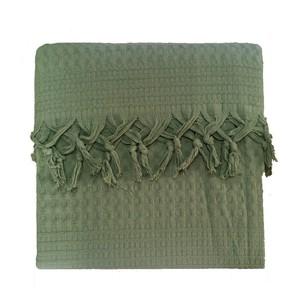 Вафельная простыня-покрывало для укрывания (пике) Saheser хлопок зелёный 220х240