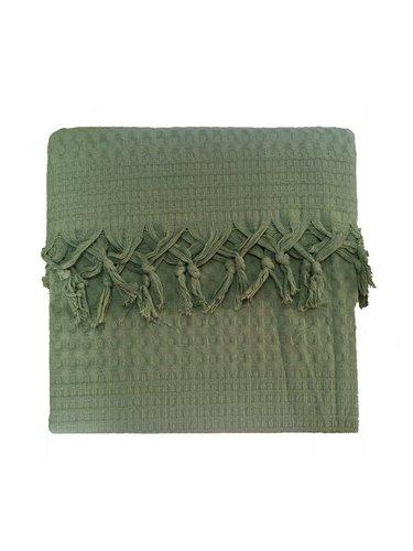 Вафельная простыня-покрывало для укрывания (пике) Saheser хлопок зелёный 220х240, фото, фотография