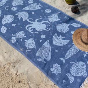 Полотенце пештемаль для пляжа, сауны, бани Begonville COTTON OCEANIC хлопок navy 100х180