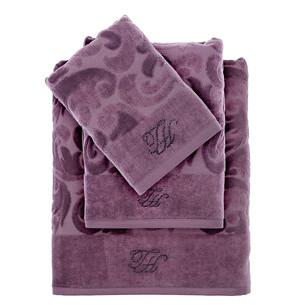 Подарочный набор полотенец для ванной 3 пр. Tivolyo Home BAROC хлопковая махра фиолетовый