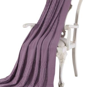 Вязаный плед-покрывало Tivolyo Home LUNA фиолетовый 220х240