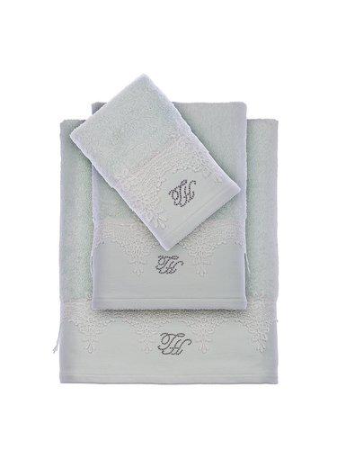 Подарочный набор полотенец для ванной 2 пр. Tivolyo Home JULIET хлопковая махра бирюзовый, фото, фотография