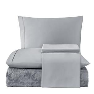 Постельное белье с махровой простынью-покрывалом Tivolyo Home BAROC хлопок серый евро