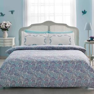 Постельное белье Tivolyo Home FIESTA хлопковый люкс-сатин голубой евро