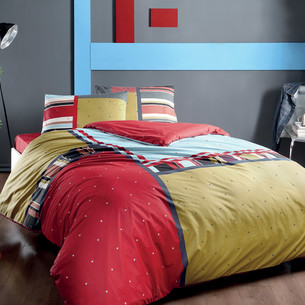 Комплект подросткового постельного белья TAC DEXTER хлопковый ранфорс красный 1,5 спальный