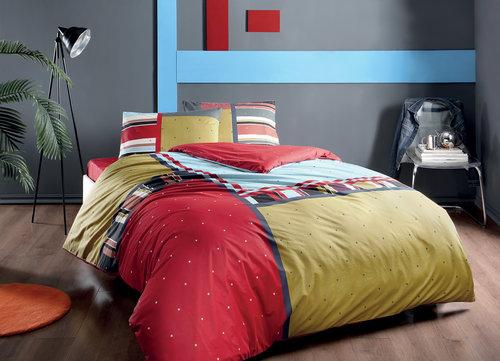 Комплект подросткового постельного белья TAC DEXTER хлопковый ранфорс красный 1,5 спальный, фото, фотография