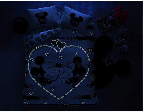 Детское постельное белье светящееся TAC MINNIE MICKEY AMOUR хлопковый ранфорс евро, фото, фотография