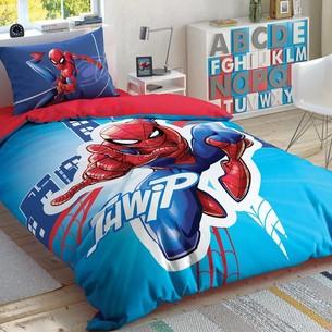 Детское постельное белье светящееся TAC SPIDERMAN LIGHT CITY хлопковый ранфорс 1,5 спальный